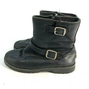UGG Kids Leather Shearling Buckle Boots Black Sz 5